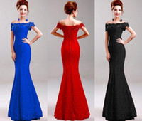Red Black Royal Blue Long Lace Mermaid Prom Dresses 2016 Bat...