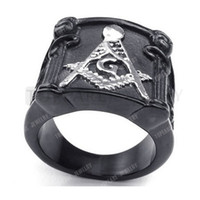 Teboer Bijoux 3pcs Vintage Heavy Freemason Masonic Mens en acier inoxydable Bague Argent Noir MER05-23