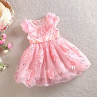 2015 New arrival baby girl kids sequin dress lace dress 3D r...