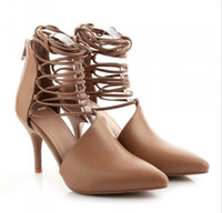 Korean Women Genuine Leather 9cm High heels Campagus Lace Up...