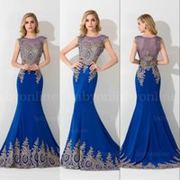 Royal Blue Lace Applique Mermaid Prom Dresses 2015 Crew Shee...