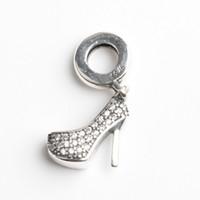 Immobilier 100% 925 perles en argent sterling High Heel Fit Pandora originale Charm Bracelet cz Livraison gratuite Bijoux bricolage femmes cadeau