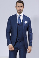 2016 Royal Blue Slim Fit Mens Wedding Suits Two Buttons Peak...