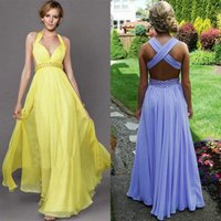 Sexy Backless Chiffon Prom Dresses 2015 Cheap V- Neck Halter ...