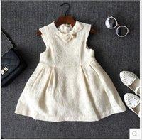 2015 Autumn Korean Girls Vest Dresses Lace Butterfly Knot Pe...