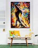 Мастихином Картина Танго Романтический двухместный танец картина маслом на холсте Mural Art Для домашнего офиса кафе Декор стены