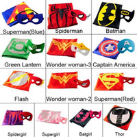 15color double layer kids cosplay Superhero Capes mask, Chil...
