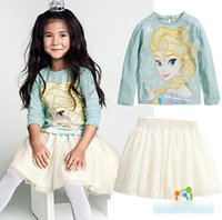 Frozen Elsa Printed Clothing Set 2015 Spring Long Sleeve Seq...