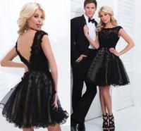 2015 Short Mini Black Lace Organza Tulle Homecoming Dresses ...