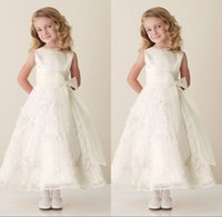 2015 Top Glamorous Ivory Flower Girl Dresses with Bow Tea- Le...