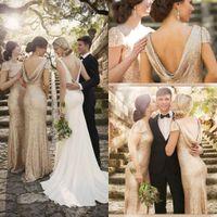2016 из розового золота Длинные невесты платья для шеи Дешевые Высокая Backless Свадьба Вечерние платья Bling Sorella Vita горничной честь платья