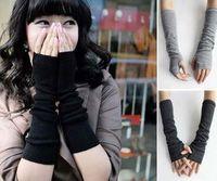 Winter Women Warm Knitted Long Gloves Half Finger Gloves Han...