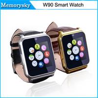 venta caliente W90 elegante reloj de la ayuda de la tarjeta SIM GPRS Radio FM con Correa de Piel para Samsung HTC Huawei LG Xiaomi Android Teléfono 010223