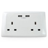 MENGS UK Double Sockets with 2 USB 5V 2000mA Ports & 2 Home ...