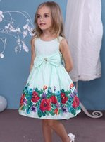 High Quality Cotton Blue Flowers Printed Bowknot Sleeveless ...