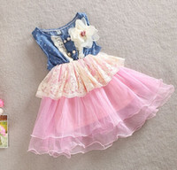 baby girl kids lace dress Denim hole dress flower floral tut...