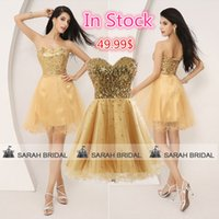 Short Gold Sequined Tulle Graduation Dresses For 2015 Homeco...