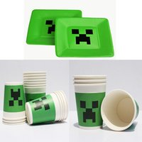 Minecraft Paper Plates Dishes Creeper Green Paper Cups Dispo...