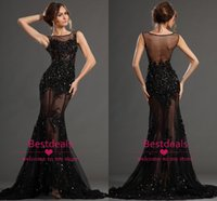 Sexy Mermaid Lace Prom Dresses 2015 Alluring High Neck Cryst...