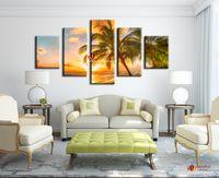 Свободная перевозка груза 5 шт Современные картины на холсте Sunset Морской пейзаж Inclued Coco Beach HD Picture Дешевые Modern Art Canvas для гостиной