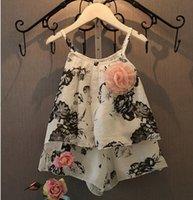 Summer Girls Flower Suspender Tops Shorts Set Children Cloth...