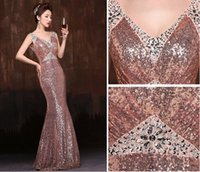 2015 Mermaid Prom Dresses V- Neck Zipper Back Sequined Fishta...