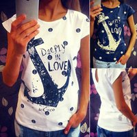 Summer wear new anchor pattern loose version cotton female T...