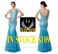 REAL IMAGE Crystal Evening Formal Gowns Backless Long Prom P...