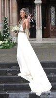 2015 Boho A Line Summer Beach Chiffon Wedding Dresses Halter...