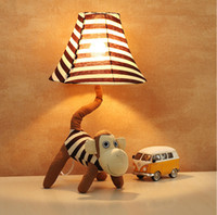 Cartoon mouth monkey fabric lamps, bedroom bedside fashion c...