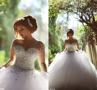 White Illusion Long Sleeves Crystal Pearls Tulle Wedding Dre...