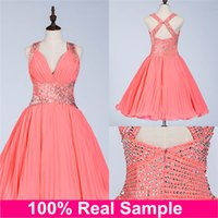Actual Image Short Coral Homecoming Dresses 2016 Prom Beauty...