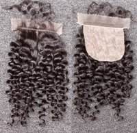 Cheap Silk Base Closure Brazilian Virgin Hair Deep Curly Wav...