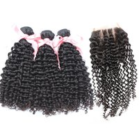 Human Hair Weave Weft Deep Curly Brazilian Hair Bundles With...