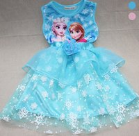 2015 Princess Frozen Sleeveless Sundress Kids Clothes Elsa A...