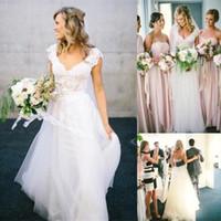 2016 Новый Чешский A-Line Свадебные платья Доступное 2 015 кружево Короткие Cap рукавом V-образным вырезом Открыть спинки Белый Слоновая кость Тюль Beach Garden