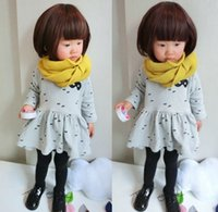 2015 Spring Girls Glasses Printed Dress Long Sleeve Pleated ...