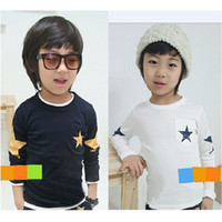 Wholesale 20pcs lot White Navy Boys Long Sleeve T- Shirts 201...