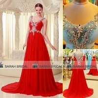 2015 Luxury Evening Dresses Amazing Crystals Beaded Sheer Sw...