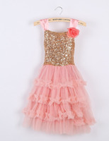 New Princess Pretty Suspenders Rose Flower Gold Sequins Bow ...