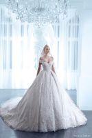 Роскошные бальные платья Свадебные платья с плеча Nicolas Jebran 2015 весенний цветок Свадебные платья Церковь Поезд свадебное платье сшитое