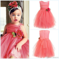 New Made Lovely Flower Girls' Dresses 2015 Coral Pink T...