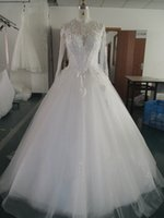 High Neck Long Sleeves Vintage Wedding Dress 2016 Court Trai...