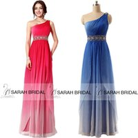 2015 Cheap Ombre Bridesmaid Dresses with One Shoulder Strap ...