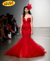 2014 Gothic Red Tulle Halloween Mermaid Wedding Evening Gala...