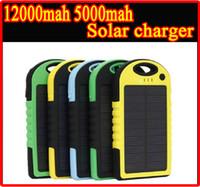 ГОРЯЧАЯ Водонепроницаемый 12000mAh 12000 мАч 5000mAh 5000 мАч Солнечное зарядное устройство Портативный Двойной USB LED Свет Панель солнечных батарей питания Внешняя батарея банк