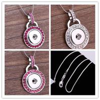 Mode Bricolage Noosa Snaps Bijoux en argent rond boucles bouton Noosa Colliers pendentif avec chaîne de serpent d'argent 925 mélange 3 couleurs