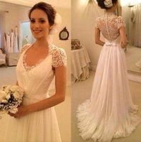 Elegant High Collar Lace Chiffon Wedding Dresses 2016 See Th...
