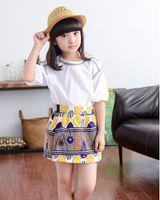 Kids Girls Sets Korean Cotton Half Puff Sleeve Printed Tops ...