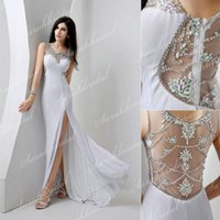 2015 White Chiffon Prom Dresses Sheer Crew Neck Illusion Bac...